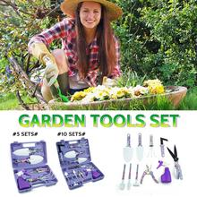 5 Pieces Lightweight Gardening Tools Kit Non-slip Handle Garden Hand Tools With Anti-rust Shovel Scissor Harrow Water Sprayer