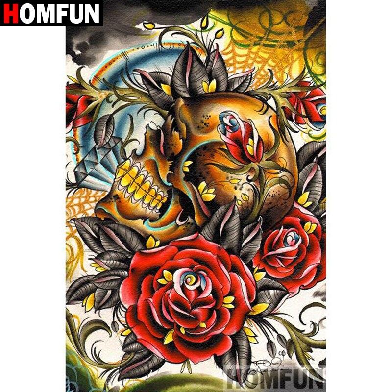 """HOMFUN 5D DIY Pintura Diamante Praça Cheia/Broca Redonda """"Flor do crânio"""" Bordado Ponto Cruz Casa Decoração presente presente A08487"""