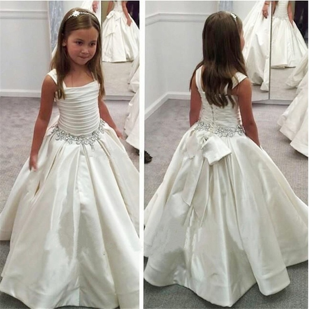 champagne kids girl formal party dress long tulle communion princess gowns flower girl dresses for wedding birthday White Flower Girl Dresses For Wedding Party Embroidered Sleeveless Princess Girl Formal Dress First Communion Dress