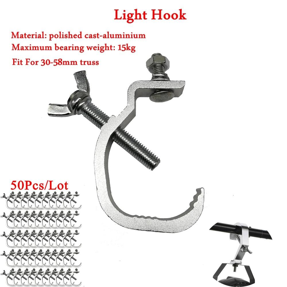 50 unids/lote de Material de aluminio de alta calidad profesional Disco Dj etapa Luz de gancho equipo luz LED de efecto para escenario abrazadera Truss