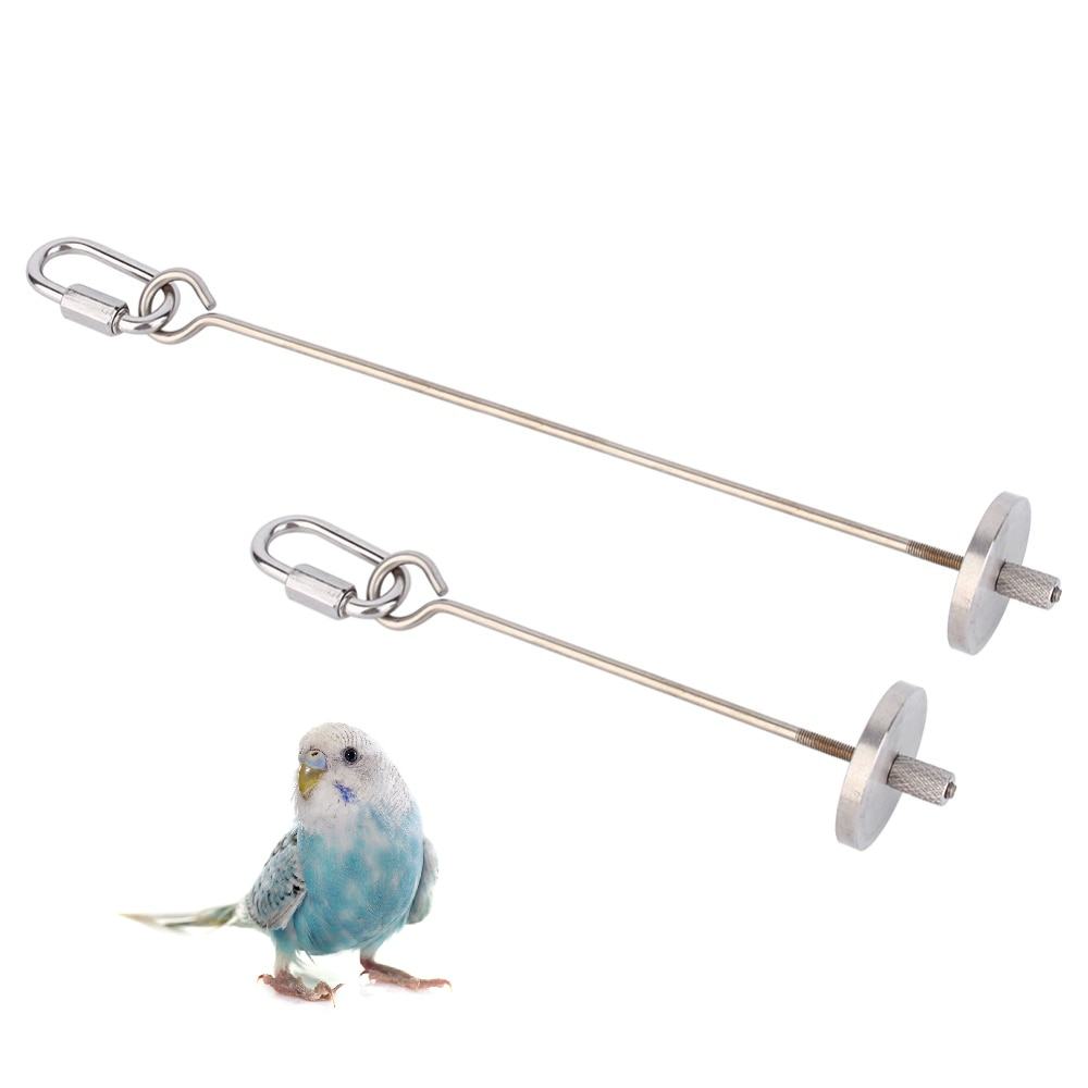 Periquito de acero inoxidable pájaro de juguete pincho fruta lanza colgar titular mascota loro 2 tamaños periquito Animal PEQUEÑO