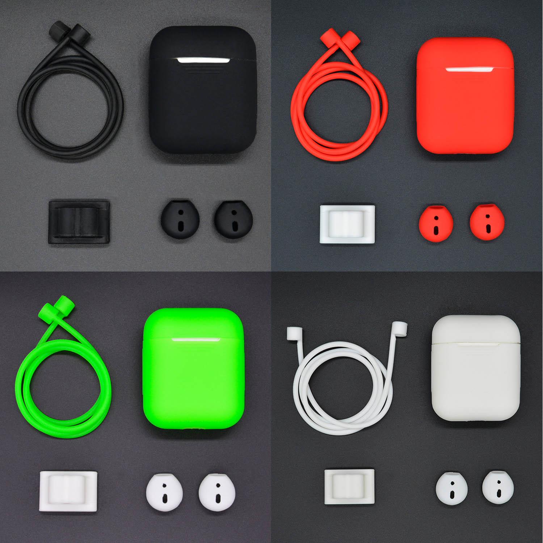 Besegad fones de ouvido sem fio acessórios conjunto silicone caso capa bolsa pulseira titular anti-lost cinta eartips para apple airpods