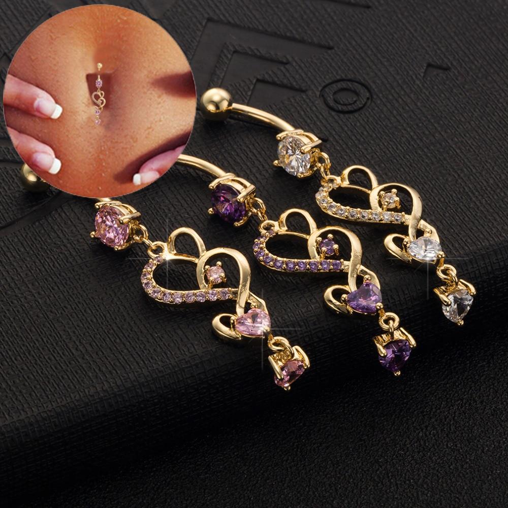 2019 corazón claro rosa púrpura Zirconia cúbica Color oro ombligo Piercing cuerpo joyería ombligo vientre envío gratis