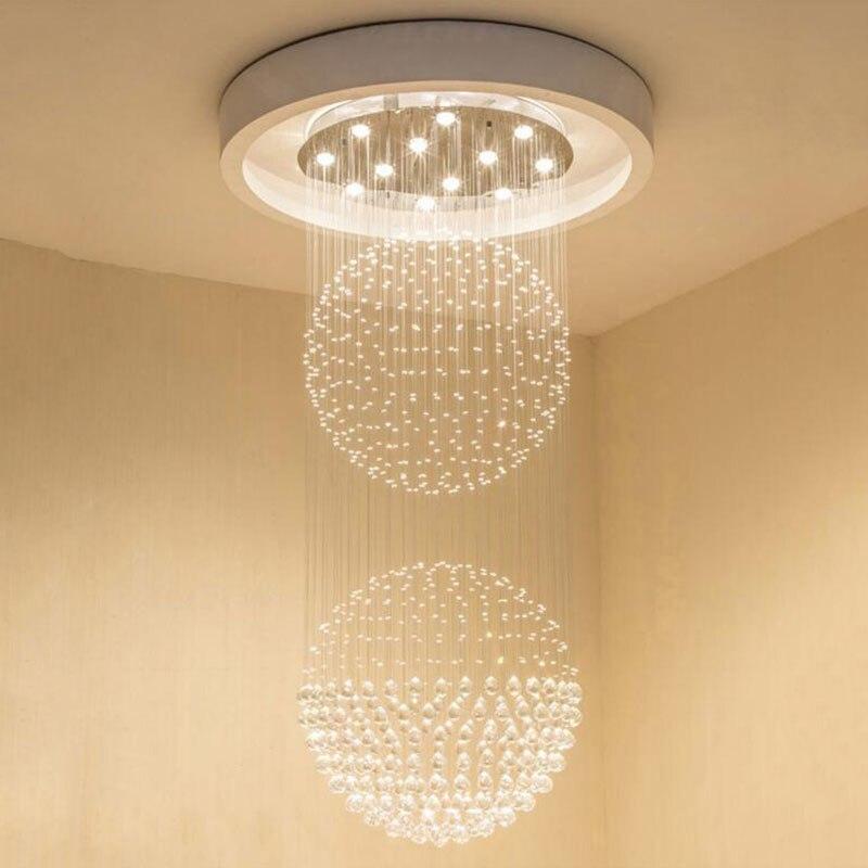Criativo 2 grandes bolas de cristal k9 lustres de cristal escada led dimmer luz para o hotel sala estar compras lustre de cristal