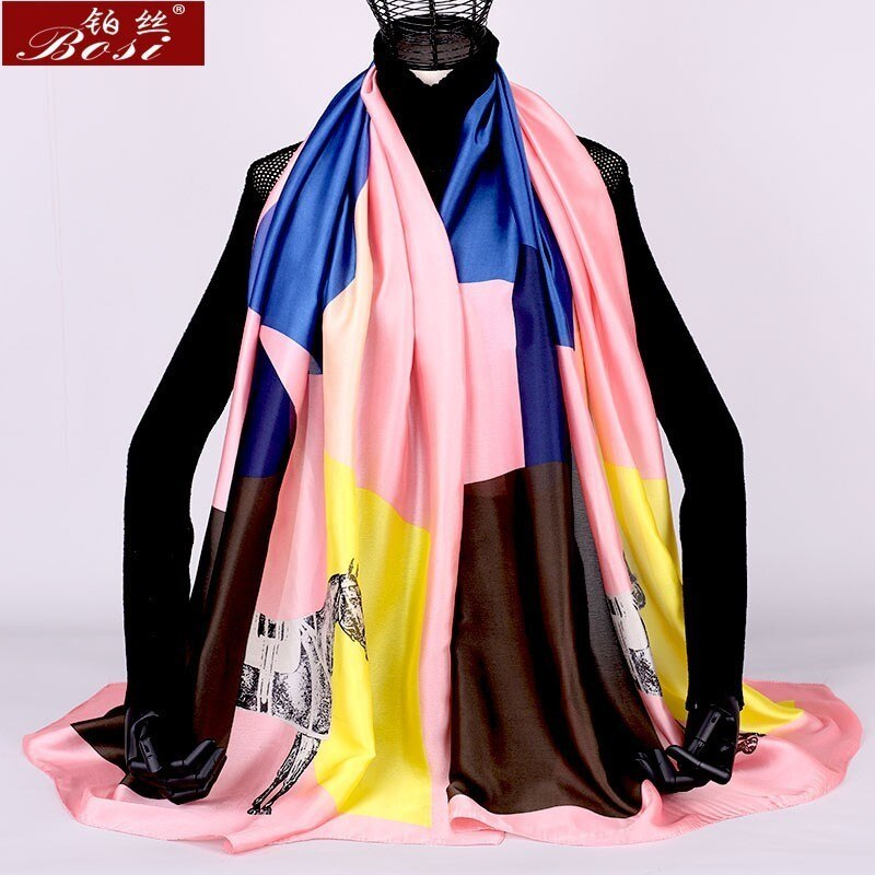 women scarf print floral winter plaid sjaal silk feel luxury brand Fashion ladies poncho   large shawls wraps cape oversize wape