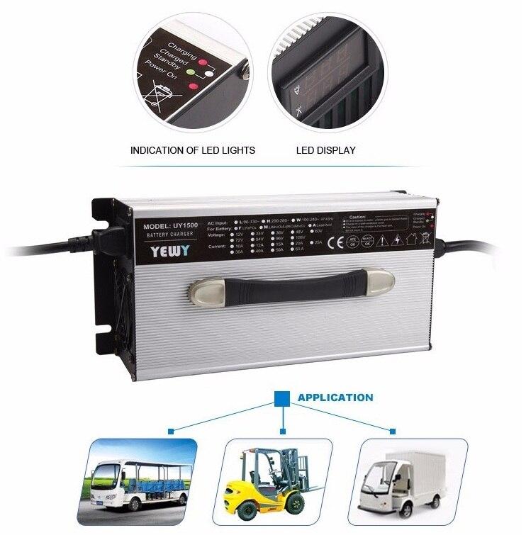 Cargador de batería de pantalla LED de litio de 1200 W 54,6 13 S V 20 amp coche/vehículo/ventilador de refrigeración de la carretilla elevadora cargador de batería