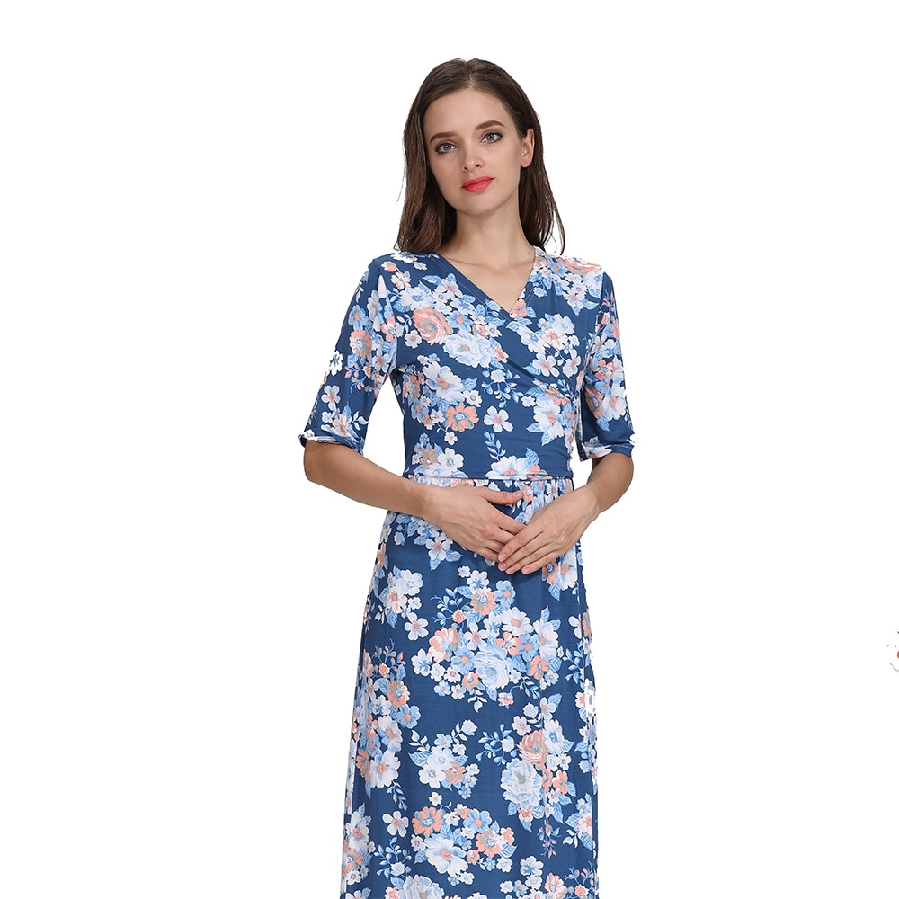 Emotion Moms Maternity Clothing Lactation Dress Party Floral Dress Pregnancy Long Breastfeeding Dresses for Pregnant Women enlarge