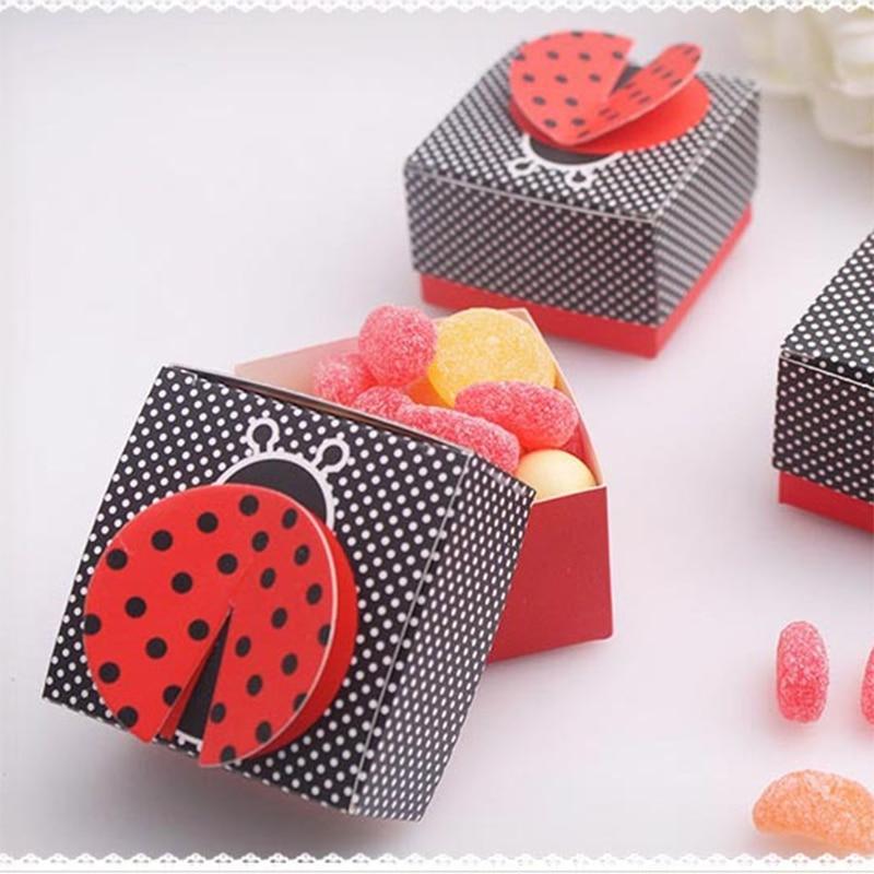 10 шт 3D Крыло Божья коровка подарочные коробки свадебный ребенок душ пользу коробка конфеты коробка шоколада упаковка коробка для Вечеринка дня рождения событие пользу