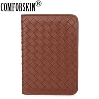 comforskin luxurious hand made sheep skin credit card case genuine leather coin purse large capacity travelling passport wallet