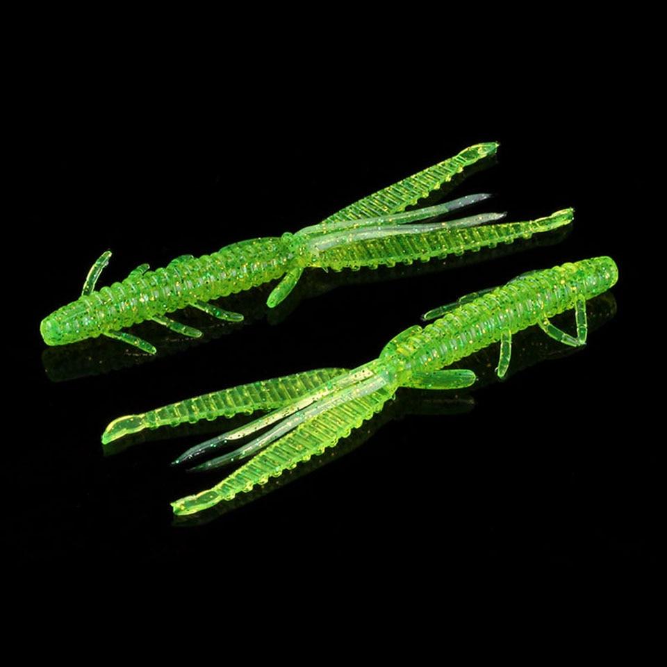 Caminar pescado 4 unids/lote de pesca de camarón atraer 8cm 10cm cebos blandos para pesca gusanos plantilla japonesa giratoria cebo práctica Señuelos de Pesca