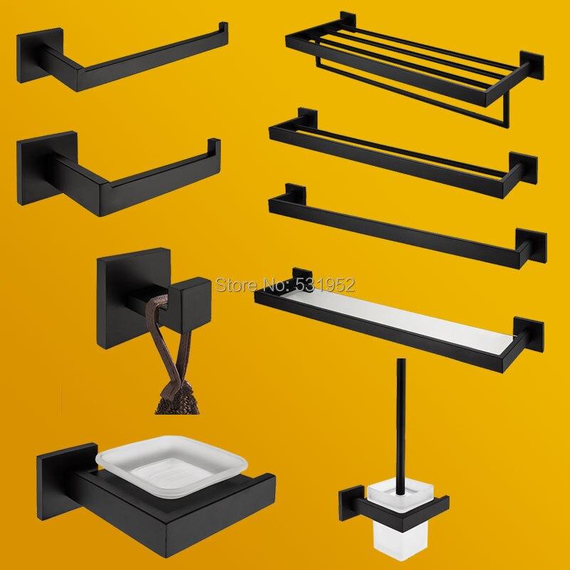 Alta qualidade conjunto de ferragens do banheiro preto fosco acessórios do banheiro suporte papel toalheiro rack robe gancho toalete escova titular