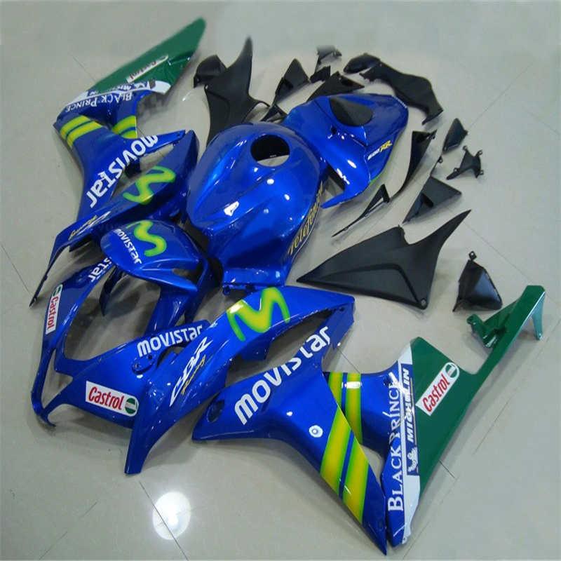 Kits de piezas de molde de inyección cuerpo carenados kits para CBR 600 RR F5 carenado juego 07 08 CBR 600RR CBR600RR 2007 2008 azul verde