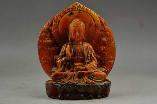 Elaborado Antigo Handwork Resina Âmbar Artificial Sentar-se Calmamente Rezar Buda Auspicioso Estátua