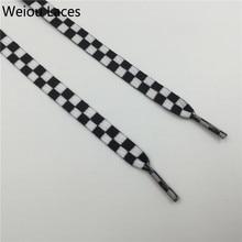 Weiou plat noir et blanc grille chaussure dentelle sublimé impression Polyester à carreaux rubans lacets lourds Sneaker laçage