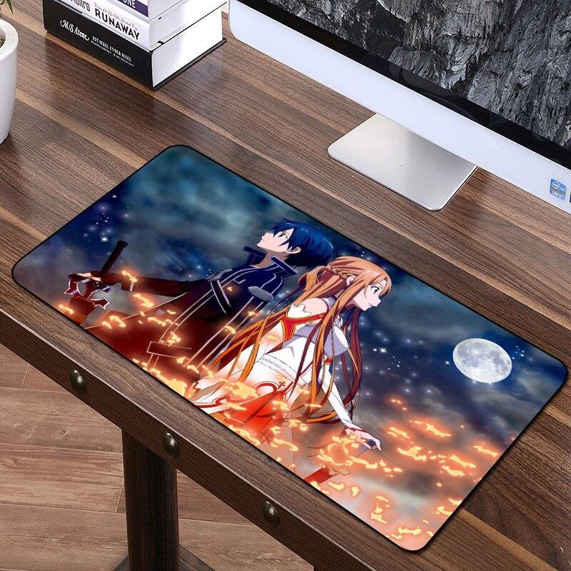 Almohadilla de ratón de Japón FFFAS de 60x35cm, alfombra para juegos de Anime, alfombrilla para teclado y ratón para chico, arte en línea con espada para interiores