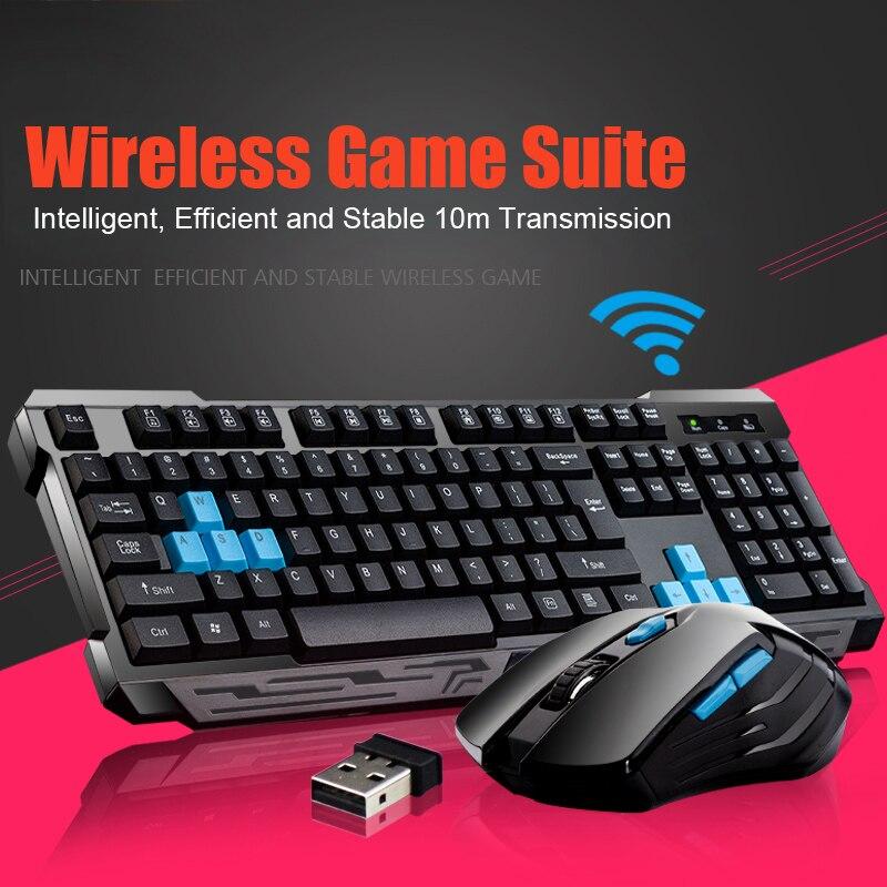 Teclado ratón Combos impermeable Multimedia 2,4 GHz inalámbrico Gaming teclado USB inalámbrico Mous GDeals
