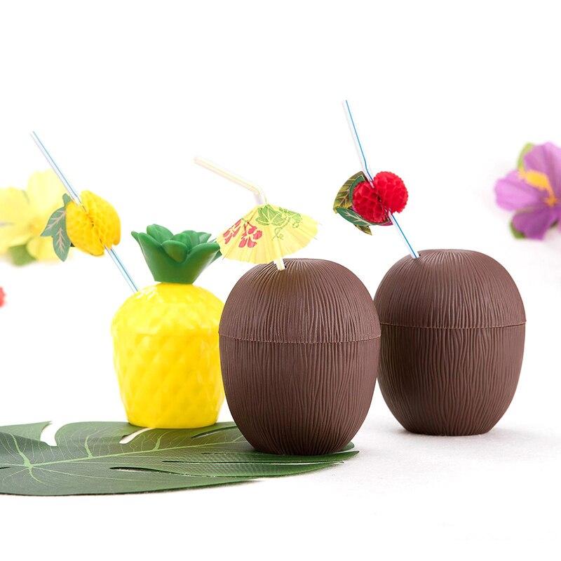 2019 plástico abacaxi beber copo festa coco forma de frutas copos verão hawaiian beach party decoração adulto