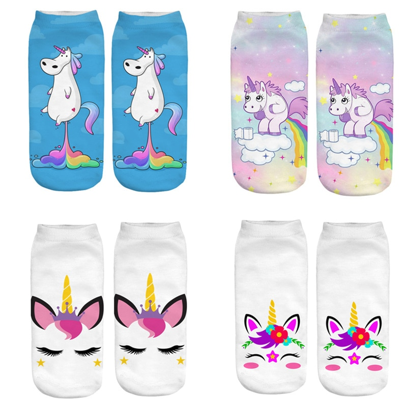 Dreamlikelin linda mujer 3D unicornio mágico calcetines caballo Pegasus caballo de algodón Mujer tobillo Kawaii Calcetines