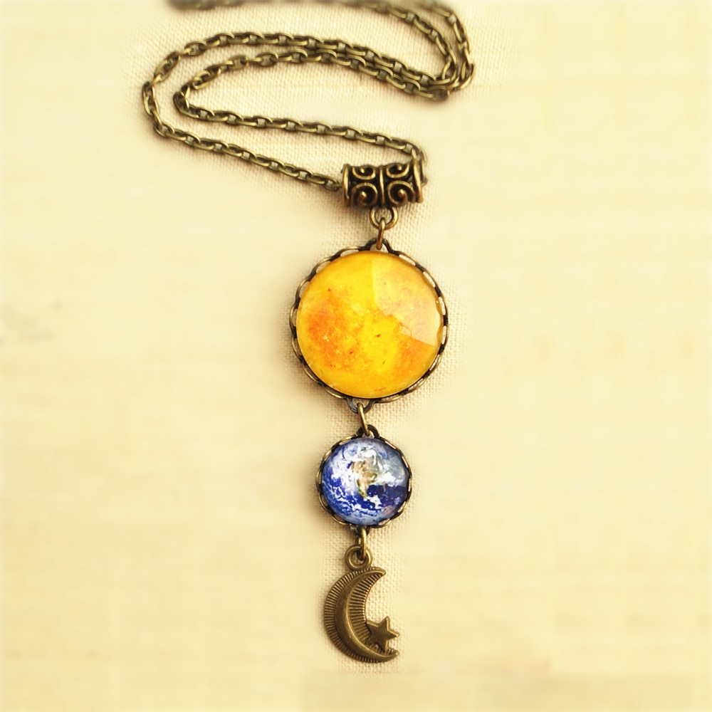 12 pçs/lote Sol Terra Lua e Estrela Colar de jóias Colar de presentes para O Seu Universo de Astronomia Sistema Solar