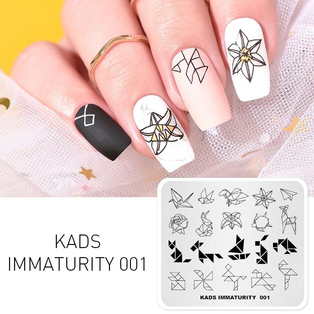 Rolabling, plantillas de grulla de papel de Origami, plantilla de decoración de uñas con imagen DIY, placa de imagen, placa de estampación para uñas