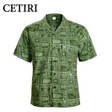 CETIRI Chemise Homme Chemise hawaïenne Homme coton vert grande taille chemises fantaisie pour Homme Chemise Homme Camisa Palmeiras Overhemd