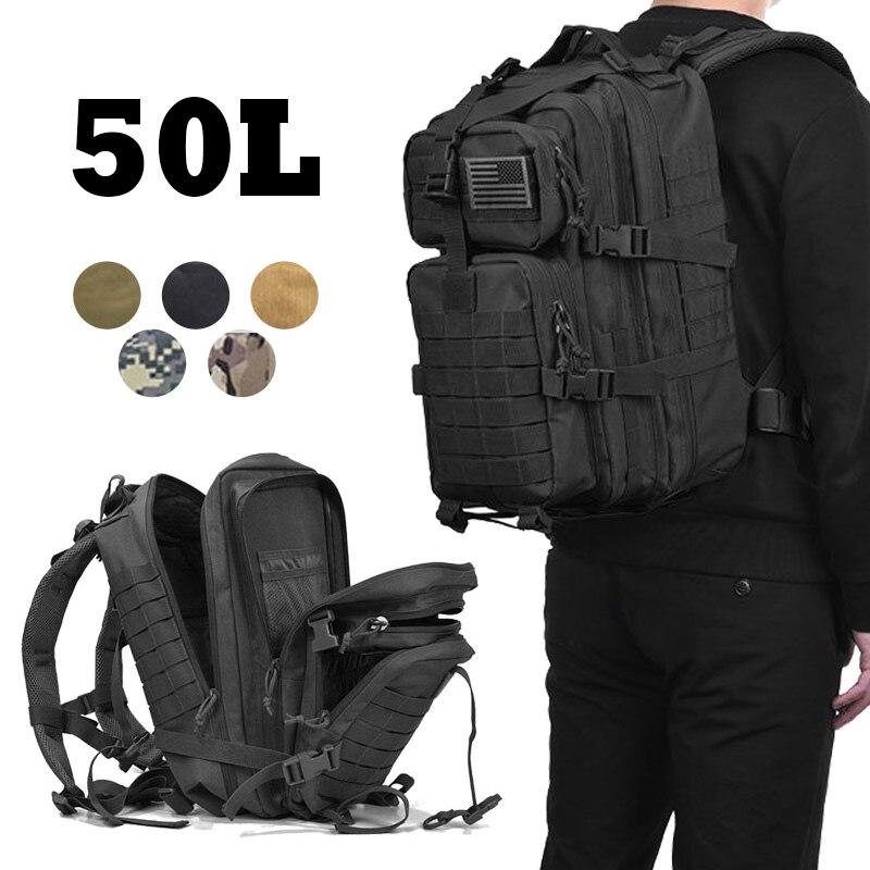 Mochila de asalto táctico militar de 50L, bolsa de viaje impermeable para insectos, mochila grande 3D para exteriores, senderismo, Camping, caza, bolsos de hombre