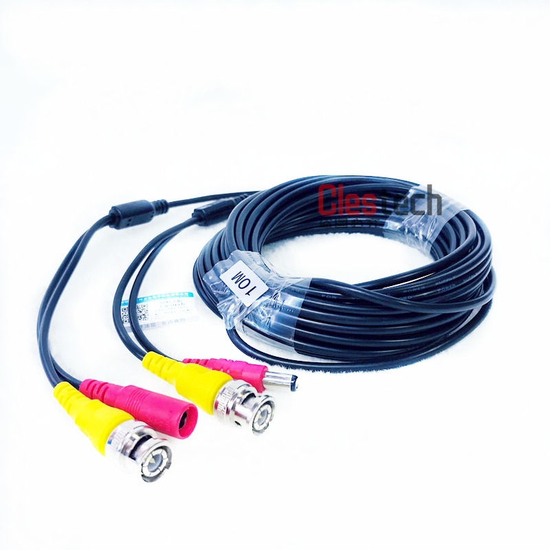 ALL Copper 10M WIRE Video Power AHD Cable Camera extend Wire CCTV DVR Home Surveillance System with BNC DC Connectors Extension enlarge