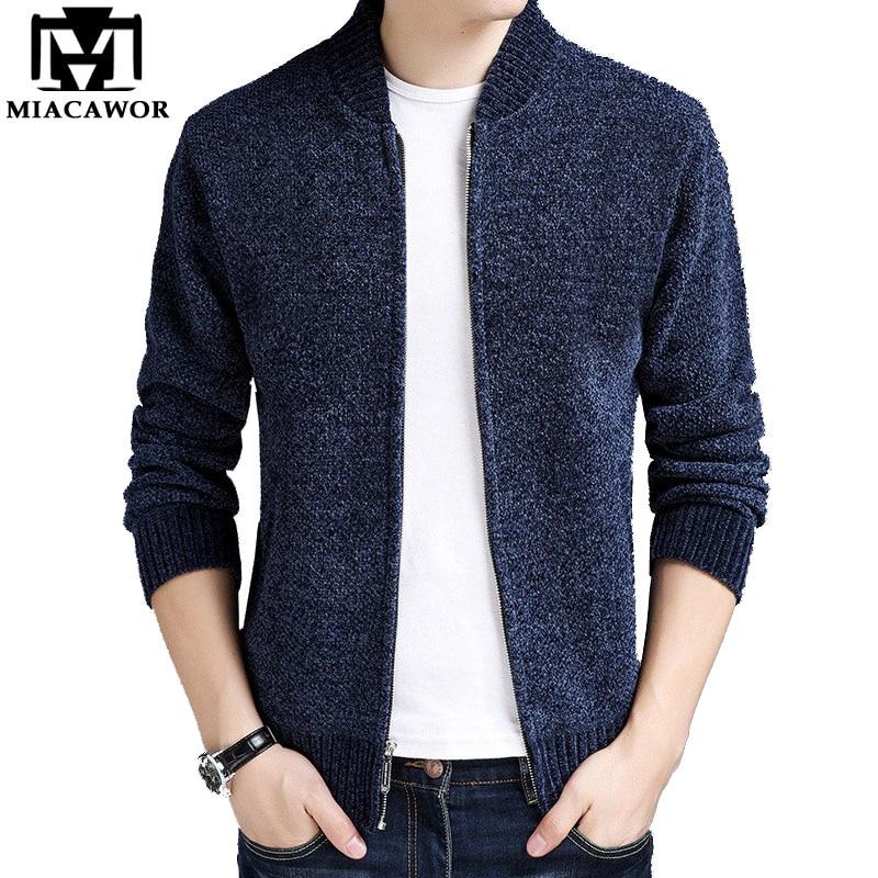 MIACAWOR New Autumn Winter Men Sweaters Coats Fleece Warm Wool Cardigan Men Casual Baseball Collar Sweatercoat Y120