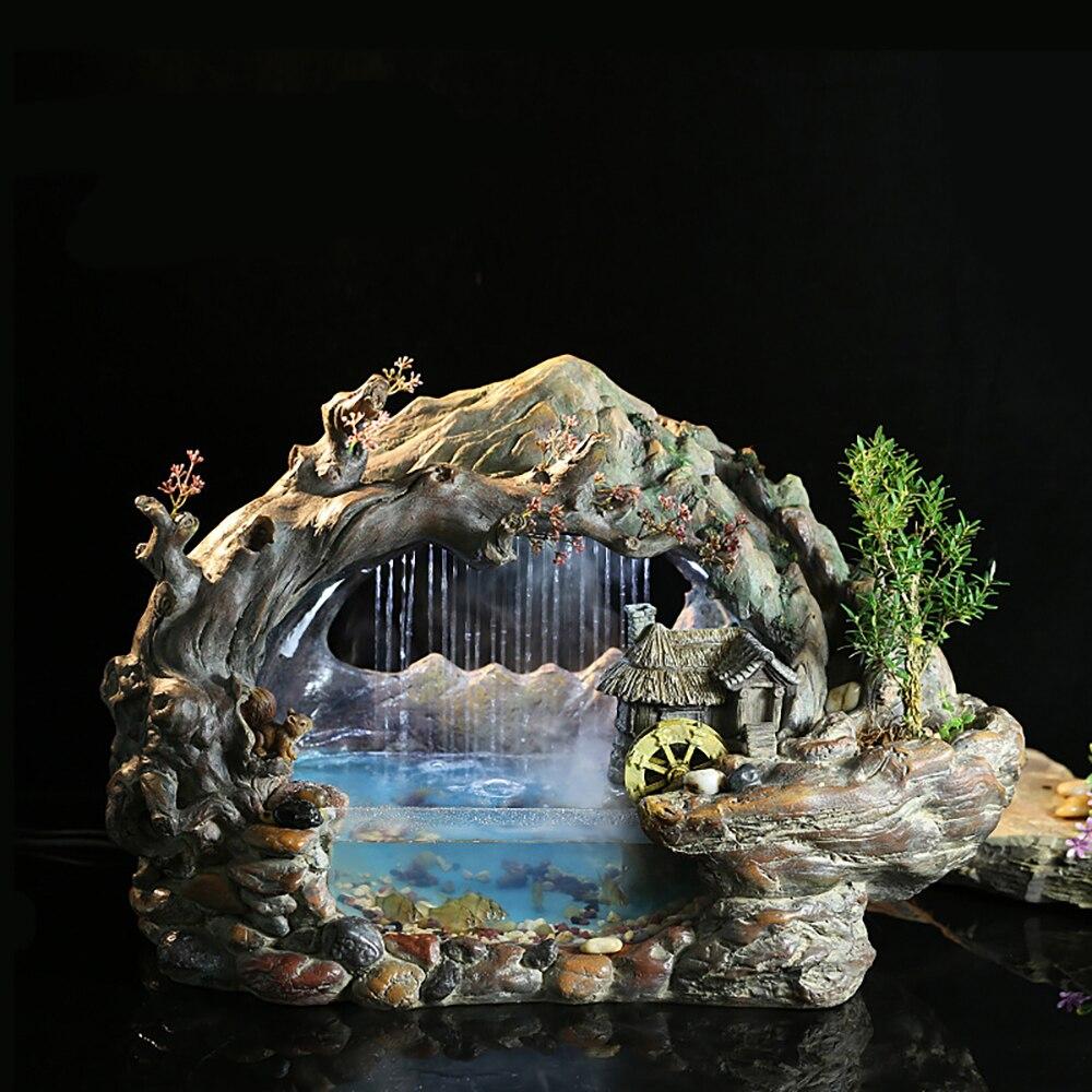 الإبداعية المياه محظوظ الديكور مكتب السمك بركة سطح المكتب النمط الصيني المياه الحلي خزان الأسماك المناظر الطبيعية الصخور