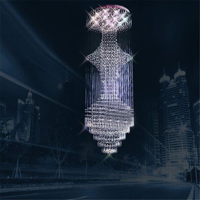 K9 candelabros de cristal GU10 LED espiral creativa moderna suspensión Art Deco iluminación Hotel Villa vestíbulo lámpara colgante grande