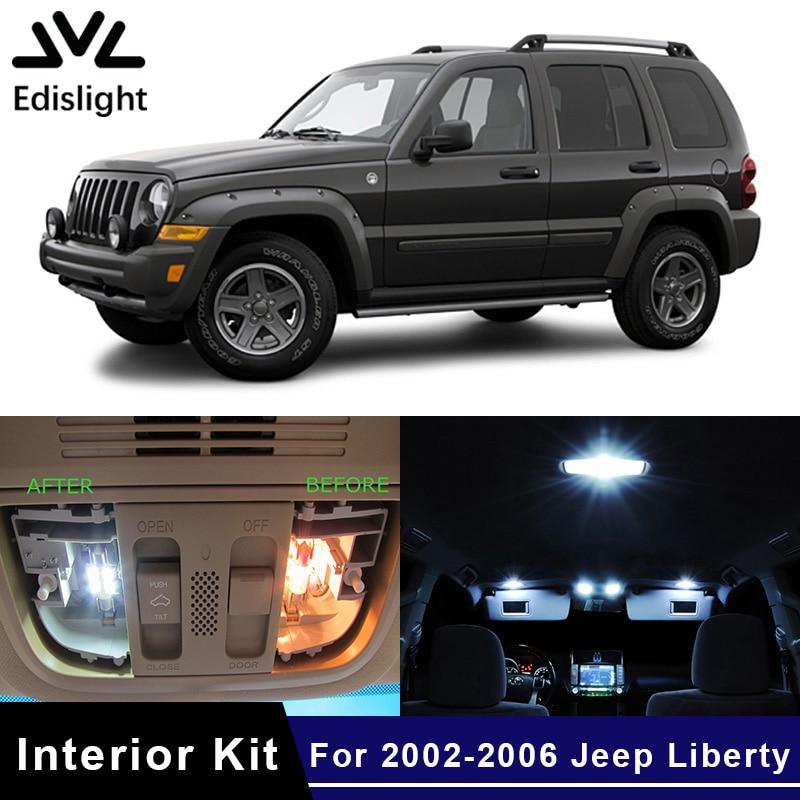 Edislight 11 pces canbus branco gelo azul lâmpada led carro lâmpadas pacote interior kit para 2002-2006 jeep liberdade mapa dome porta luz