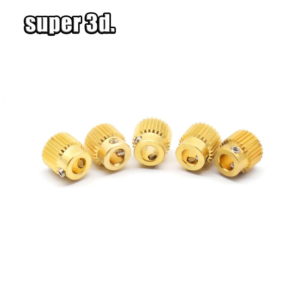 Аксессуары для 3D-принтера 2/5/10 шт., латунное экструзионное колесо, внутренний диаметр 26 зуба 5 мм для экструдера Reprap