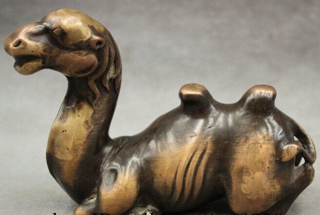 Bir 005037 Chino Puro de Cobre de Bronce Riqueza llama Camel camello Estatua Escultura
