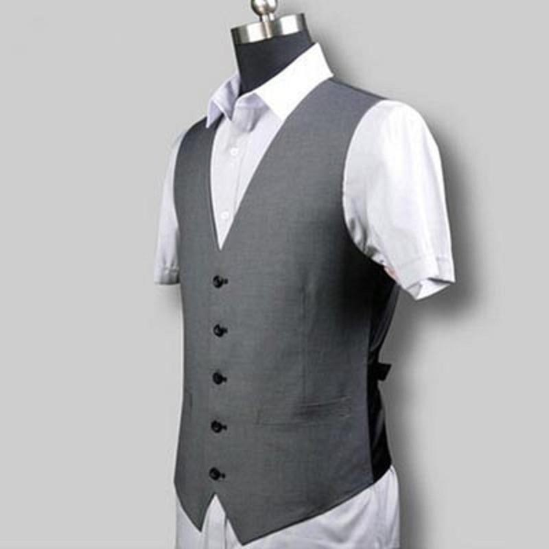 Высокое качество для похудения жилет на лето и весну Для мужчин Повседневные комплекты одежды жилет v-образным вырезом 5 Кнопка Для мужчин s ...