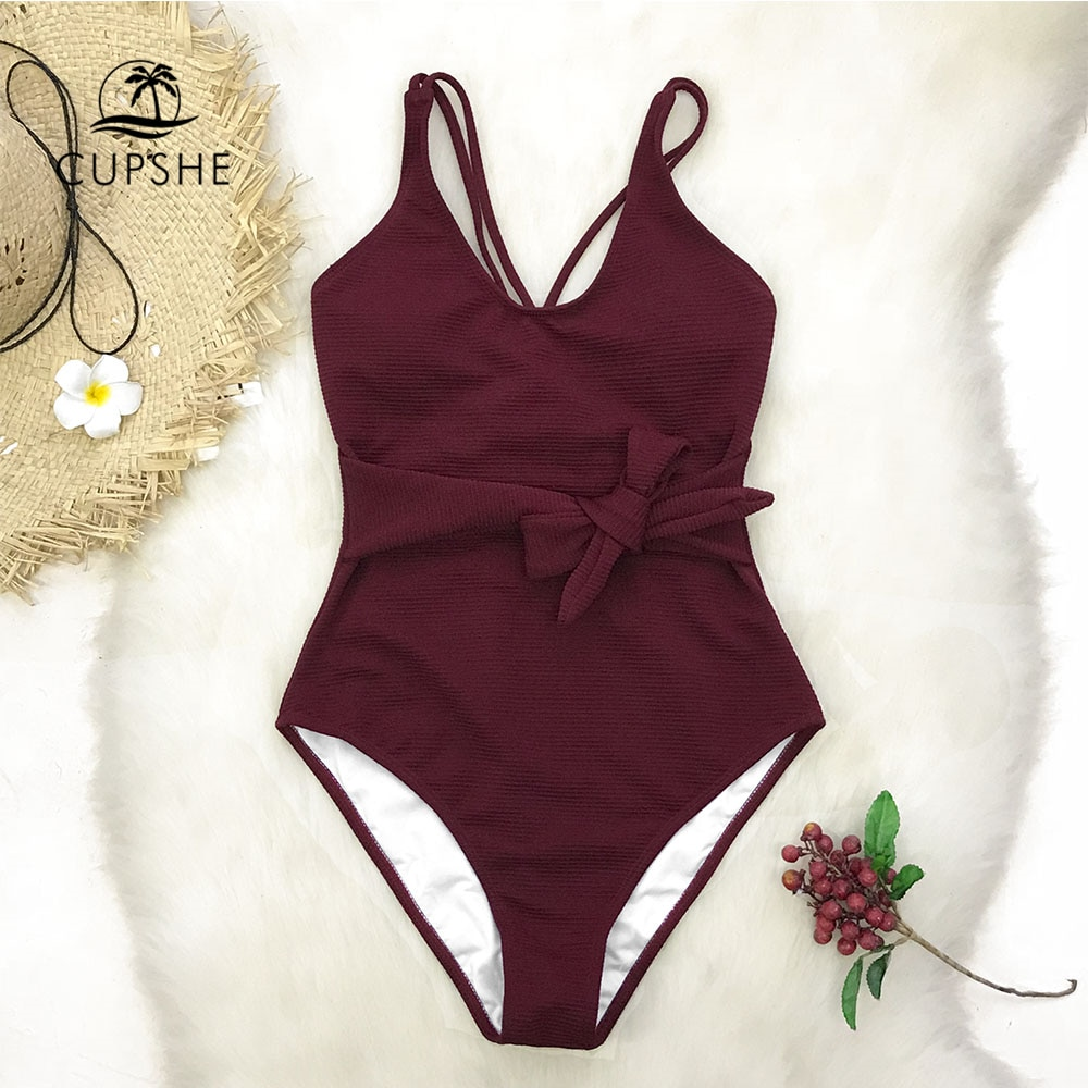 CUPSHE عنابي Bowknot قطعة واحدة ملابس السباحة النساء الصليب الصلبة Monokini لباس سباحة 2020 فتاة مثير ملابس السباحة