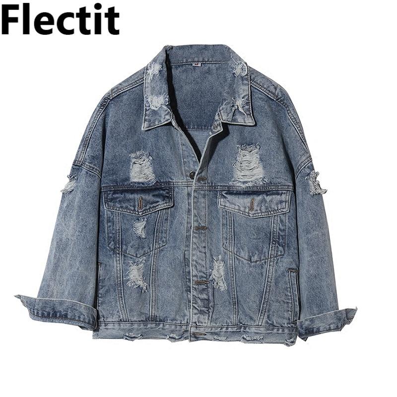 Chaqueta vaquera con rasgado Grunge de los 80s Vintage de Flectit, chaqueta vaquera para mujer con lavado de piedra, chaqueta vaquera deshilachado estilo urbano, chaqueta vaquera holgada #