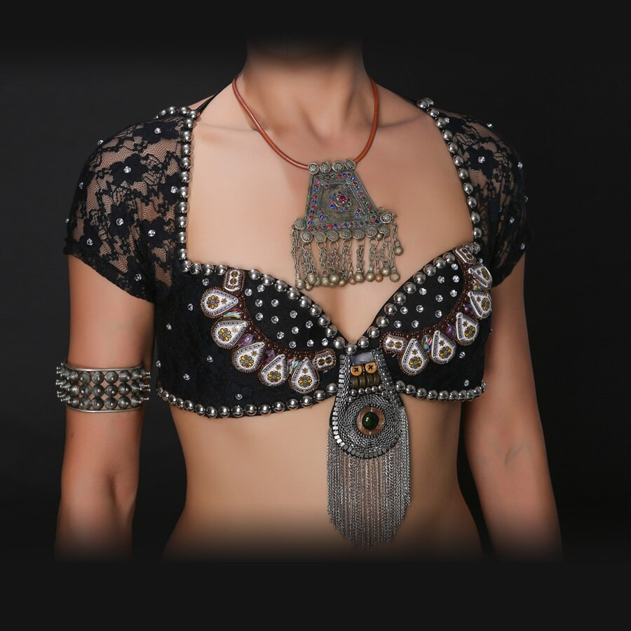 ATS القبلية رقص شرقي حمّالة الصّدر معدني ترصيع دفع ما يصل BeadsBra B/C كأس خمر عملات علوية الغجر الرقص الصدرية الدانتيل