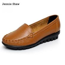 Maman pois chaussures antidérapant en cuir véritable semelles souples talon moyen femmes loisirs chaussures en cuir Sys-1189