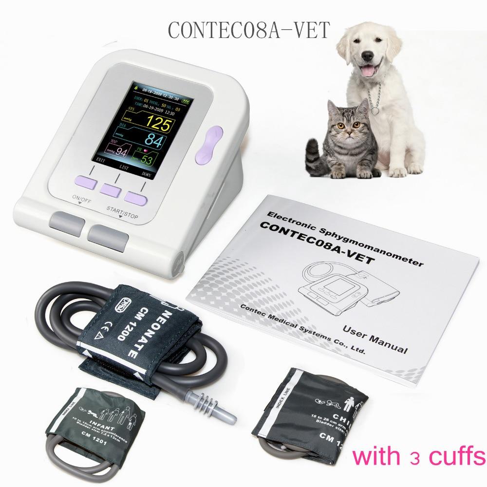 Vet Veterinary OLED digitale Blutdruck & Herz Beat Monitor NIBP CONTEC08A-VET + 3 manschetten