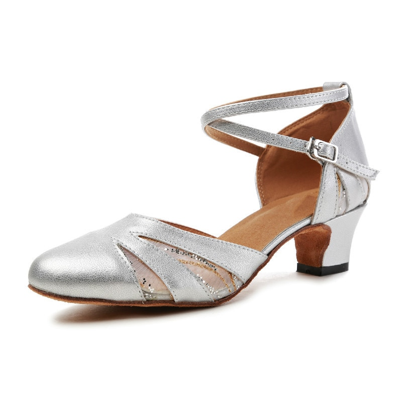 New Gold Silver Latin Dancing Shoes Women's Closed Toe Salsa Shoes Ballroom Dancing Shoes Women's Dance Shoes Latin Shoes