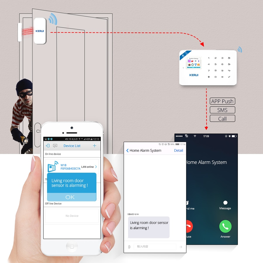 KERUI Motion Detector Door Detector Alarm Siren Alarm System TFT Color Screen W18 WIFI GSM Home Burglar Alarm System APP Control enlarge