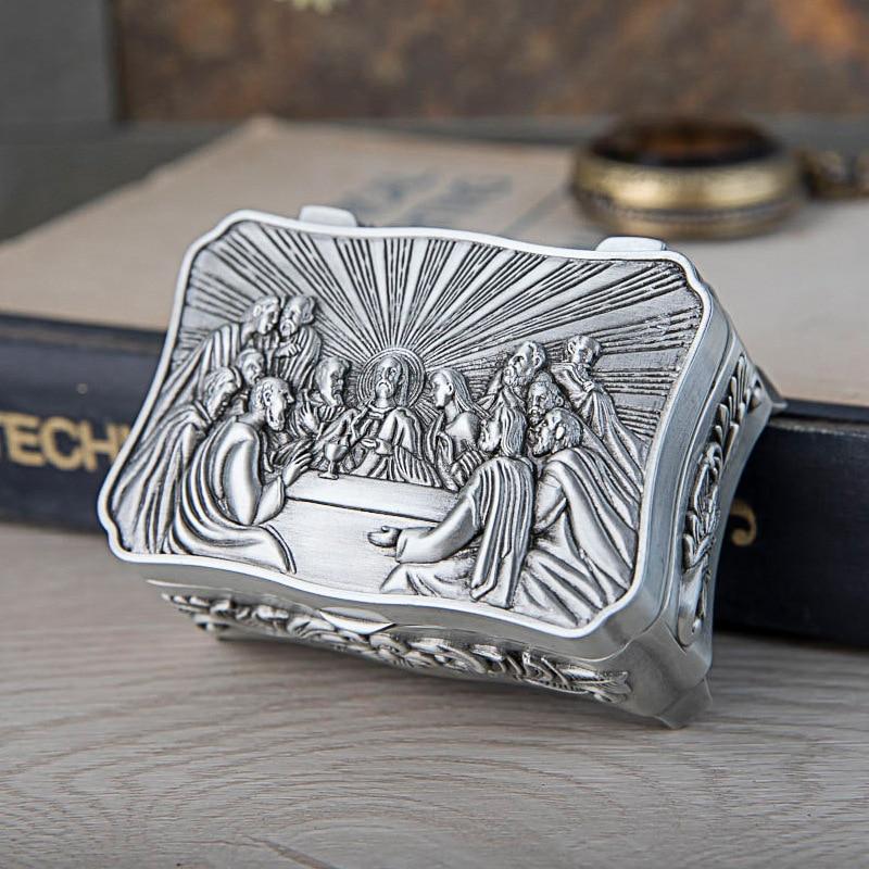 2019 nuevo tamaño pequeño de Metal caja de joyería de la Última Cena tema cristiano baratija caja de almacenamiento Jesús Cofre del Tesoro.