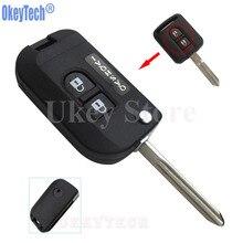 Recambio OkeyTech mando a distancia de 2 botones modificado Flip plegable carcasa de llave de coche en blanco Fob para Nissan Qashqai envío gratis