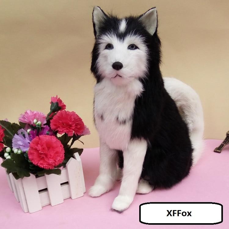 real life black sitting dog model plastic&furs husky dog doll gift about 23x10x26cm xf1607