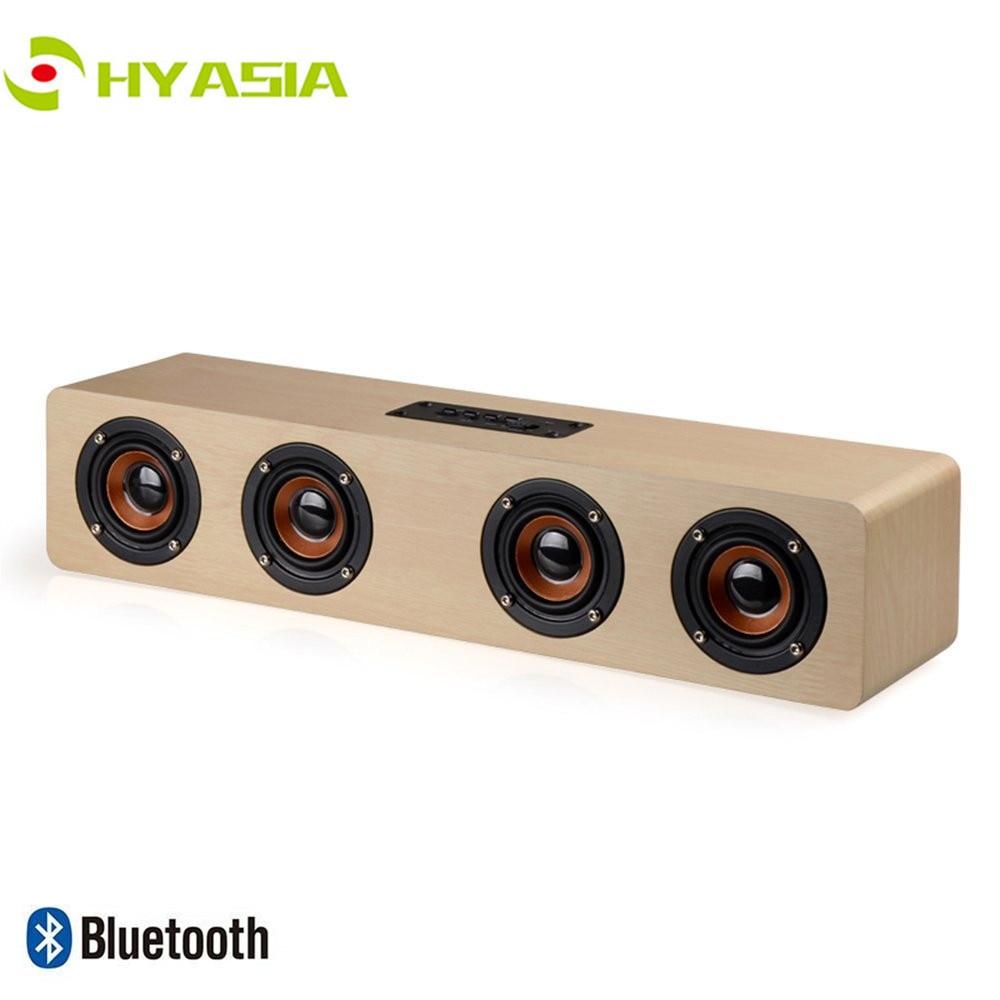 Altavoz inalámbrico de madera HYASIA Bluetooth 4,2 altavoz de barra de sonido TV manos libres Audio home theater sistema de sonido Soundbar Bluetooth