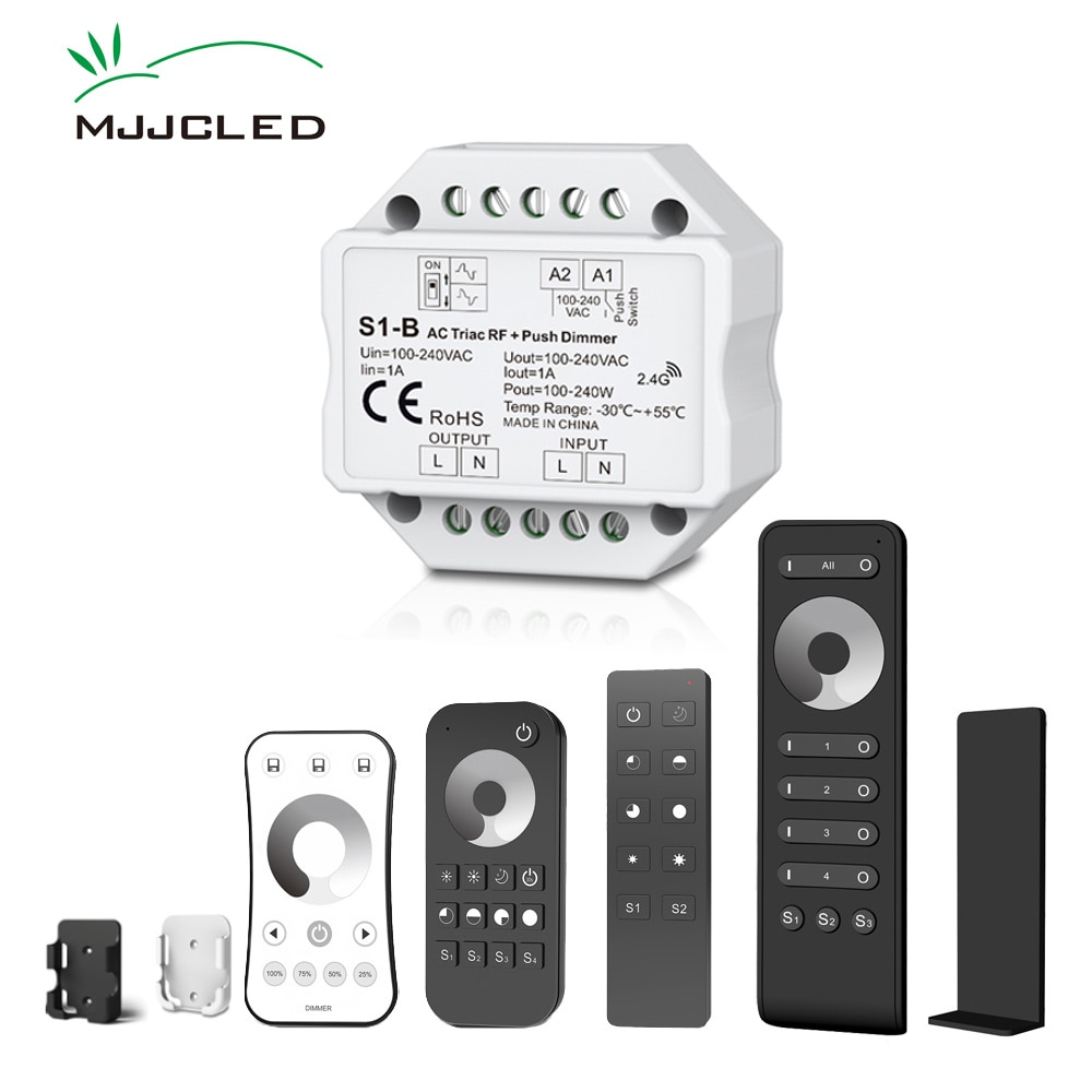 Atenuador LED 220V 230V 110V AC Triac inalámbrico atenuable vía radiofrecuencia interruptor con 2,4G remoto 220V regulador interruptor para bombilla LED para lámpara S1-B