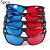 5 יח'\סט מסגרת אדום כחול 3D משקפיים ממדי Anaglyph סרט משחק DVD שחור