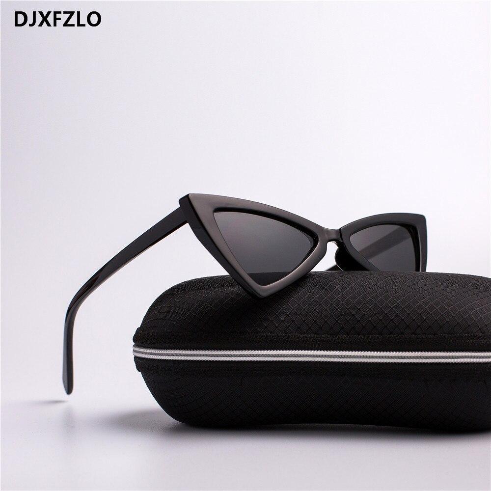 Djxfzlo moda retro óculos de sol senhoras moda gato olho marca luxo designer óculos de sol retro preto oculos