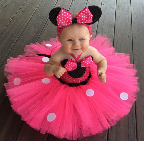 Розовое платье-пачка с рисунком Микки для девочек детское платье из тюля «кроше» с белыми точками и повязкой на голову, детское платье для костюмированной вечеринки балетные пачки