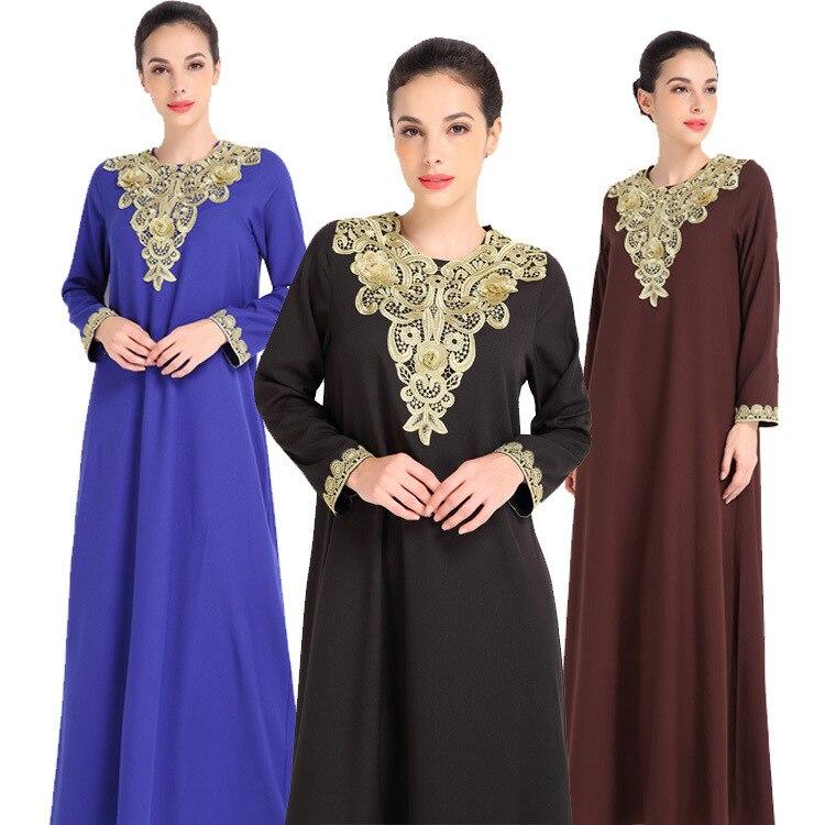 De moda de bordado de las mujeres musulmanas de manga larga Dubai vestido Maxi Abaya Jalabiya islámica vestido de las mujeres ropa traje Kaftan marroquí